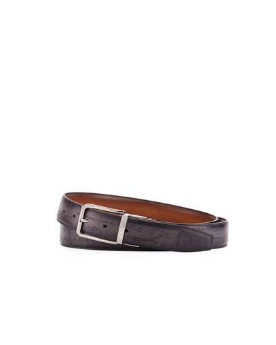 Reversible Scritto Leather Belt