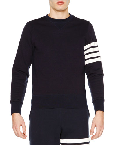 Crewneck Four-Stripe Sweatshirt, Navy