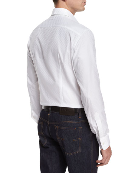 Tonal Gancini-Print Jacquard Shirt, White