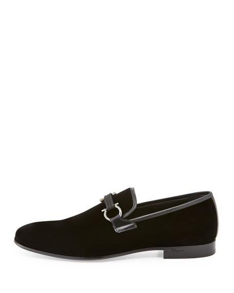 Velvet Gancini Loafer, Black