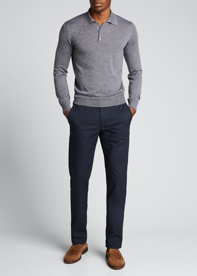 Long-Sleeve Cashmere Polo Sweater