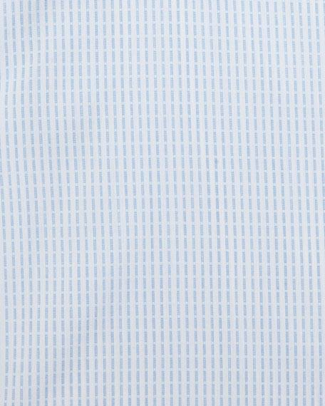 Grid-Stitch Dress Shirt, White/Light Blue