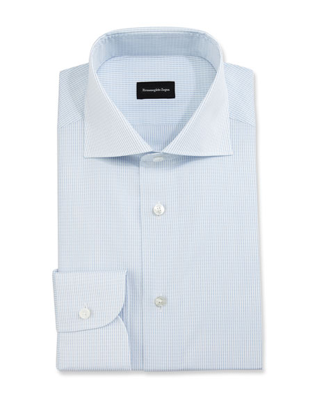 Ermenegildo Zegna Grid-Stitch Dress Shirt, White/Light Blue