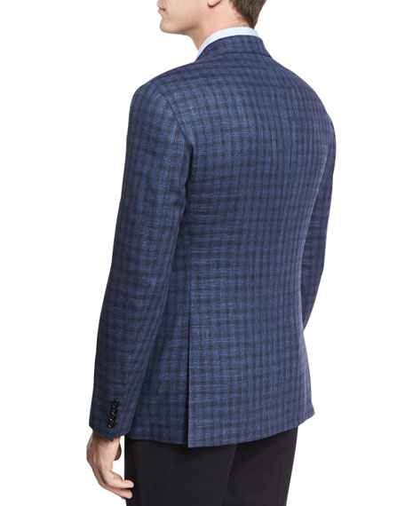 Houndstooth Check Two-Button Sport Coat, Black/Blue