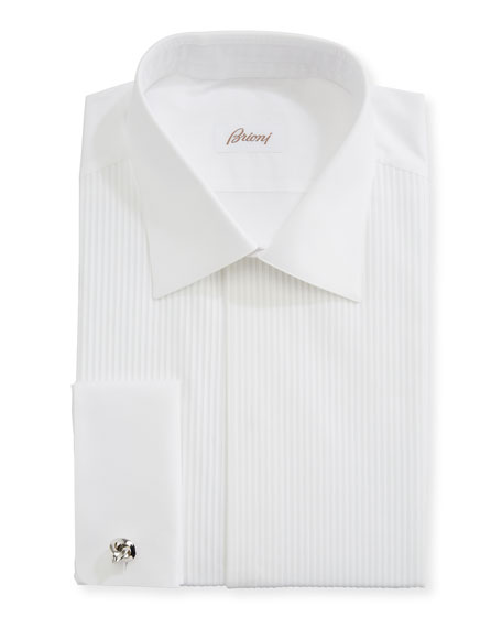 Brioni Pleated Poplin French-Cuff Dress Shirt