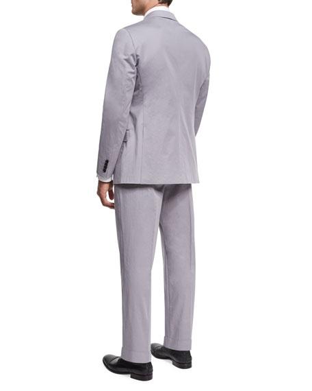 Stretch Cotton Two-Piece Suit, Light Gray