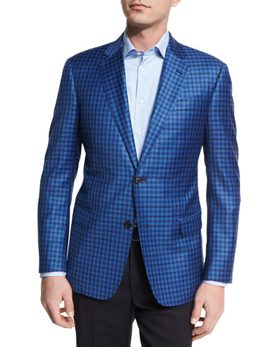 Check Wool Two-Button Sport Coat, Bright Blue
