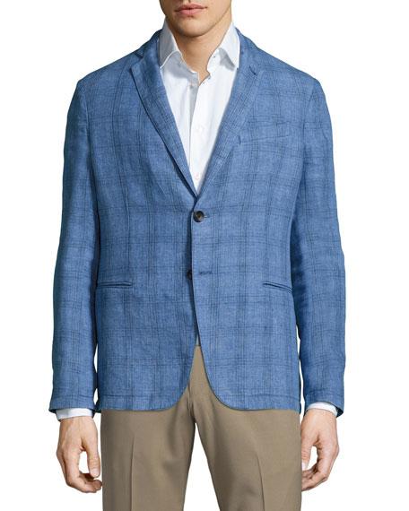 Plaid Linen Two-Button Soft Jacket, Cornflower Blue