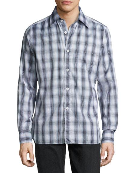 Plaid Cotton Sport Shirt, Gray/Blue