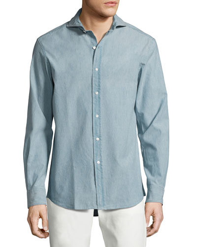 Chambray Sport Shirt Light Blue