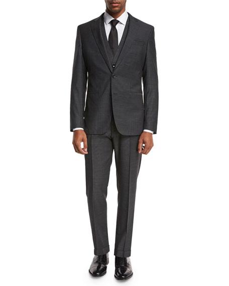 BOSS Micro-Nailhead 3-Piece Suit, Charcoal Black
