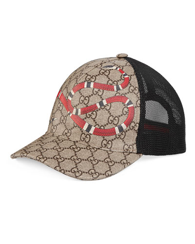 Snake-Print GG Supreme Baseball Hat, Brown