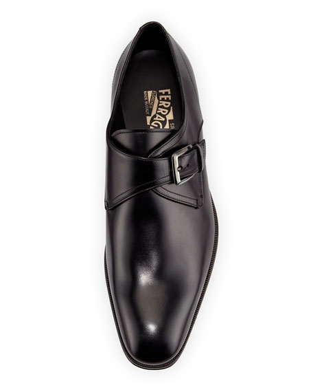 Calfskin Single Monk-Strap Loafer, Black