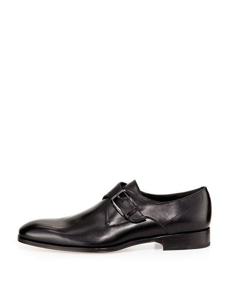 Men's Calfskin Single Monk-Strap Loafer, Black