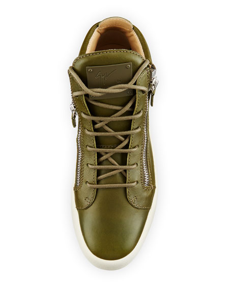 x Zayn Men's Leather Double-Zip Mid-Top Sneaker, Olive