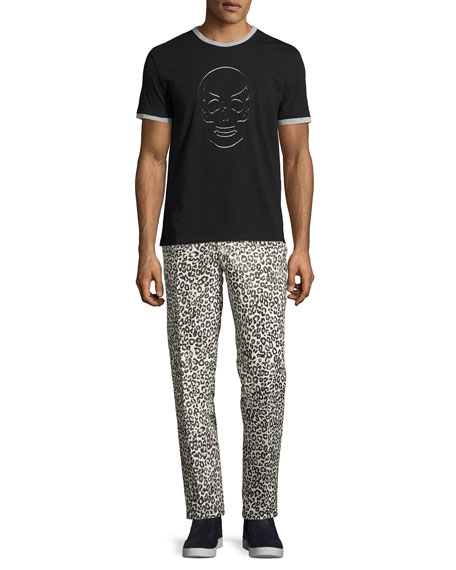 Leopard-Print Slim-Straight Pants, Black/White/Gray