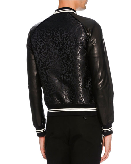 Leopard-Print Jacquard Varsity Jacket with Leather Sleeves, Metallic Black