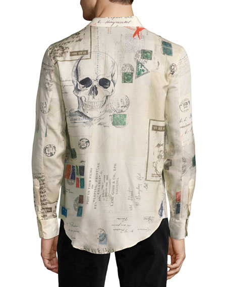 Postcard-Print Cotton-Silk Shirt, Ivory