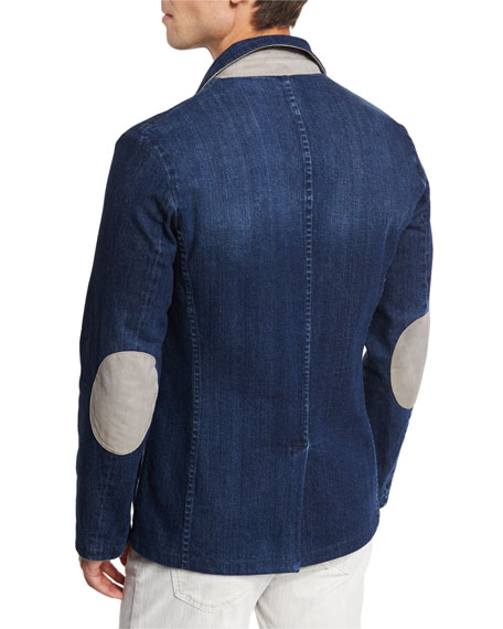 Denim Blazer with Elbow Patches, Blue