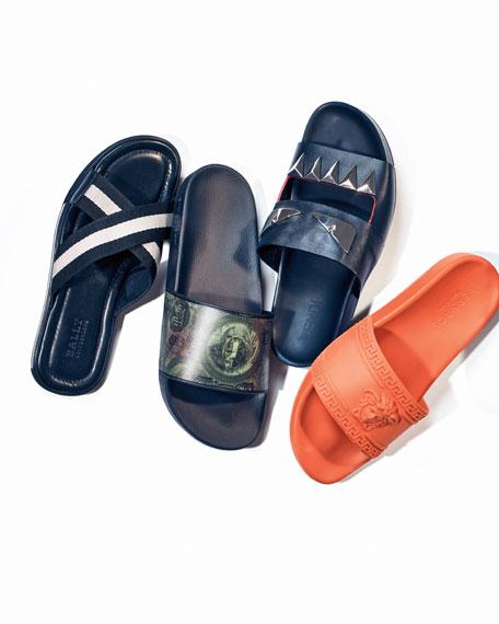 959a2fa4388ca Versace Men s Medusa   Greek Key Shower Slide Sandal