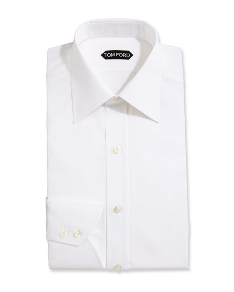 Slim-Fit Solid Dress Shirt, White