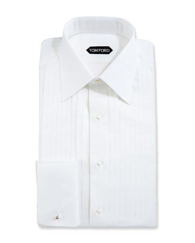 Slim-Fit Plissé Plastron Tuxedo Shirt, White