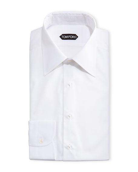 Slim-Fit Poplin Plastron Evening Shirt, White