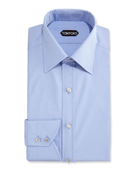 Slim-Fit Classic Dress Shirt, Blue