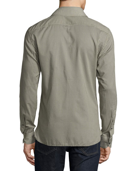 Circle-Print Sport Shirt, Olive
