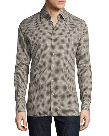 TOM FORD Circle-Print Sport Shirt, Olive