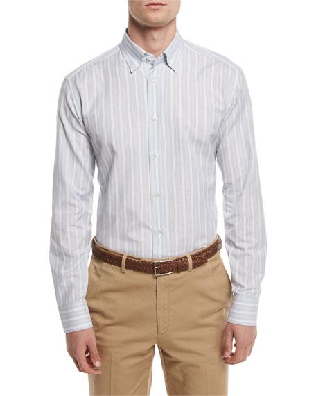 Striped Sport Shirt, Light Blue/Tan
