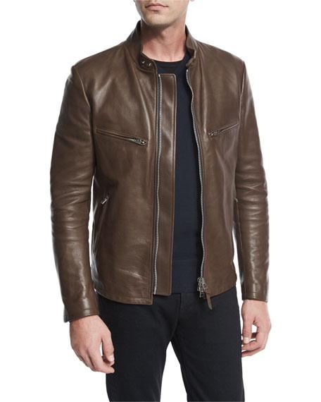Leather Café Biker Jacket, Brown
