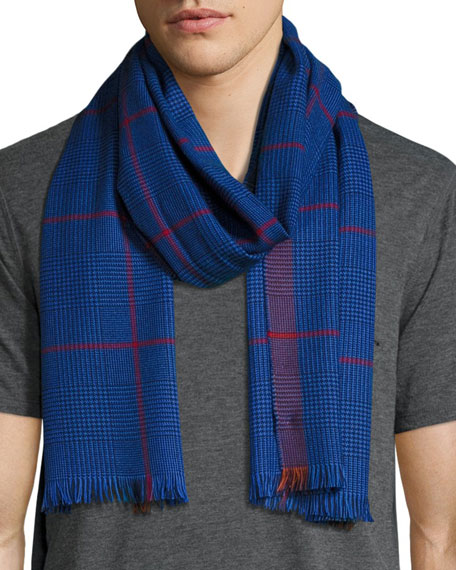 Begg & Co Barra Plaid Merino Wool Scarf,