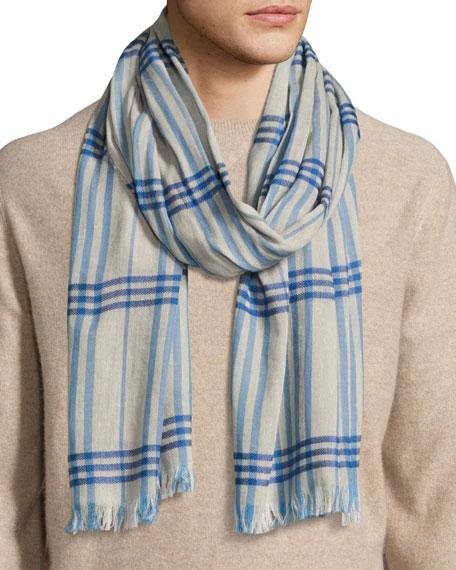 Cottlea Men's Plaid Cotton-Linen Scarf, Cream/Blue
