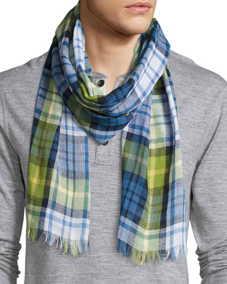 Cottlea Plaid Cotton-Linen Scarf, Blue/Green/Yellow/White