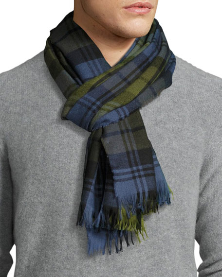 Begg & Co Plaid Cashmere Scarf, Deak Blue