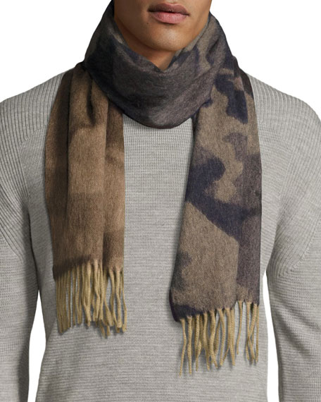 Begg & Co Camo Lambswool-Angora Scarf, Blue/Brown