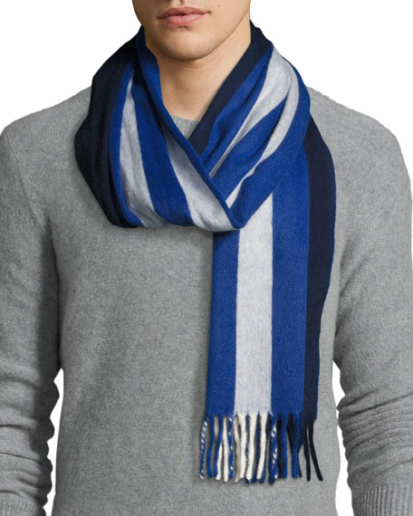Begg & Co Striped Lambswool-Angora Scarf, Navy/White