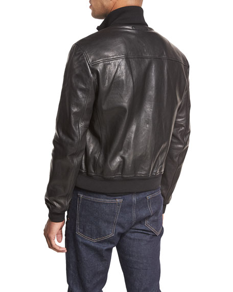 Lamb Leather Funnel-Neck Bomber Jacket, Black