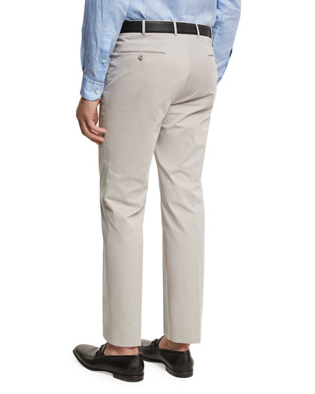 Cotton-Cashmere Flat Front Trousers, Beige
