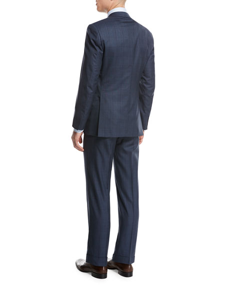 Plaid Wool-Silk Two-Piece Suit, Medium Blue