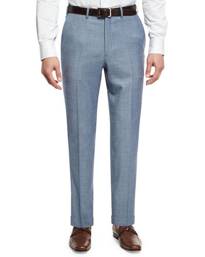 Sharkskin Wool Flat-Front Trousers, Light Blue