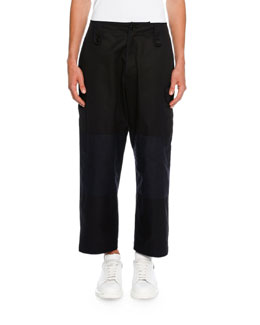 Colorblock Cropped Wide-Leg Cargo Pants, Black/Navy