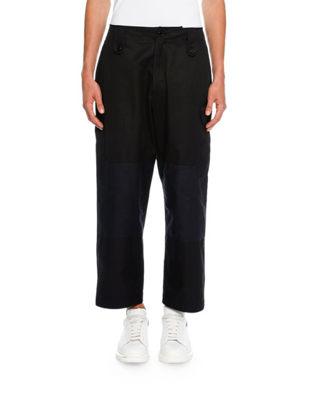 Colorblock Cropped Wide-Leg Cargo Pants, Black/Navy