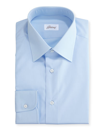 Wardrobe Essential Solid Dress Shirt  Blue