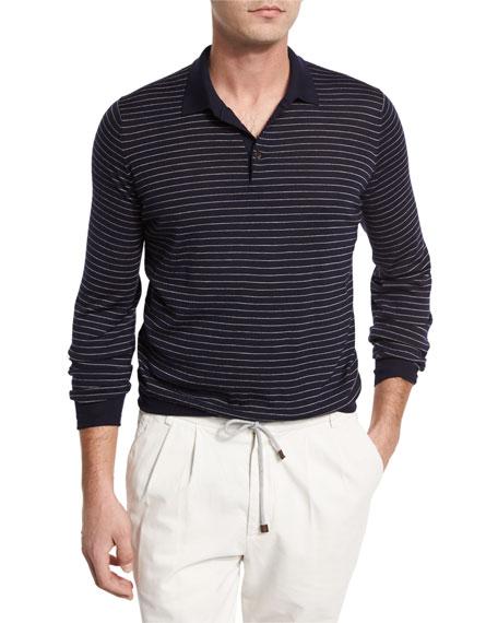 Brunello Cucinelli Fine-Gauge Wool-Cashmere Striped Long-Sleeve