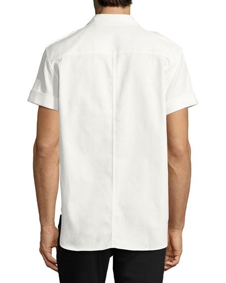 Short-Sleeve Cotton Military Shirt, Off White
