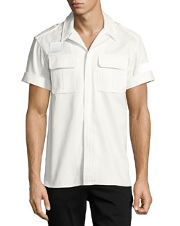 Short-Sleeve Cotton Military Shirt, Off White