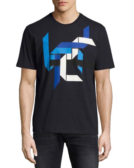 Origami-Print Crewneck T-Shirt, Navy