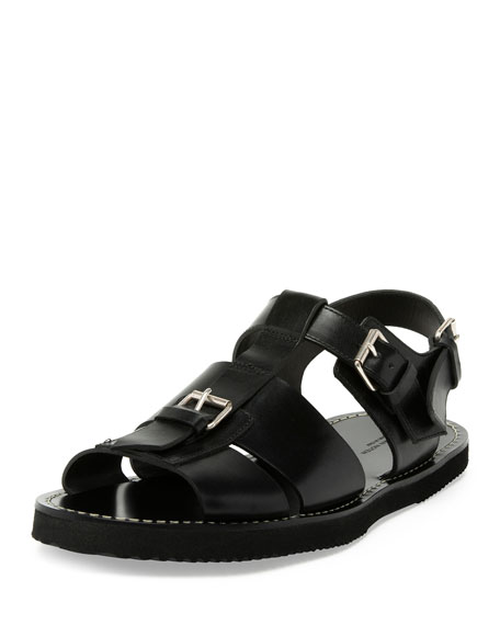 Leather Buckle Sandal, Black